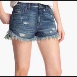 EUC Free People Distressed Denim Jean Shorts